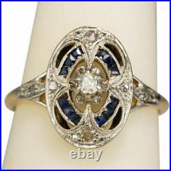 Antique Art Deco Blue Sapphire White Diamond Jewelry Vintage Ring 925 Silver