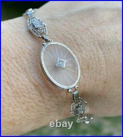 Antique Art Deco Camphor Glass Diamond 14k White Gold Filigree Bracelet