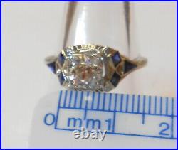 Antique Art Deco Filigree 18K White Gold 6 mm Mine Cut Diamond Ring Size 8.75