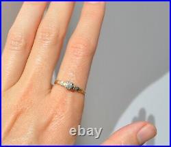Antique Art Deco Natural Mine Cut Diamond Ring 14k Solid Gold Floral Flowers