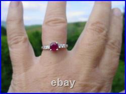 Antique Art Deco Platinum Ruby Diamond Engagement Ring 1950's