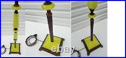 Antique Art Deco Vaseline Uranium Jadeite Houze Glass Bridge Floor Lamp