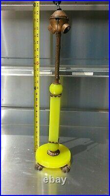 Antique Art Deco Yellow Jadeite Uranium Slag Vaseline Glass Houze Lamp Topaz