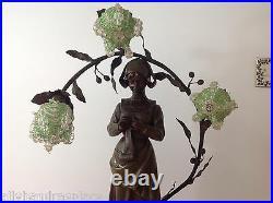 Antique Art Nouveau Deco Bronze Spelter French Figural Newel Post Lamp RANIERI