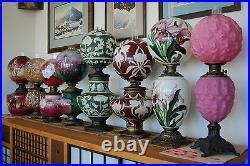 Antique Arts Crafts Oil Kerosene Art Nouveau Deco Gwtw Victorian Old Glass Lamp