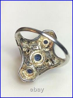 Antique Estate 18k White Gold Natural Blue Sapphire Ring Art Deco