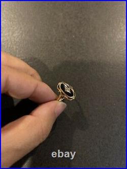 Antique Estate Art Deco Black Onyx & Diamond 14K Yellow Gold Ring Size 6.25