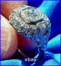 Antique European Cut Diamond Engagement Ring Vintage Art Deco Platinum Solitaire