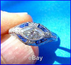 Antique European Diamond Engagement Ring 20s Art Deco Vintage Platinum Solitaire