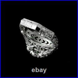 Antique Filigree Vintage Art Deco Wedding Ring 14K White Gold Over 2.1Ct Diamond