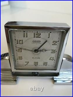 Antique JAEGER LECOULTRE Art Deco Desk Clock, 8 days, vintage