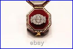 Antique Original Art Deco Platinum Natural Diamond Decorated Pretty Ring