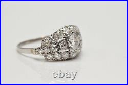 Antique Original Natural Diamond Decorated 18k Gold Artdeco Ring
