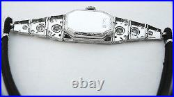 Antique Platinum Diamond Wristwatch Vintage Art Deco Filigree Reduced
