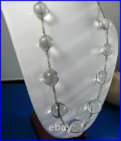 Antique Rock Crystal Undrilled Art Deco Fine Orb Necklace- Pools of Light