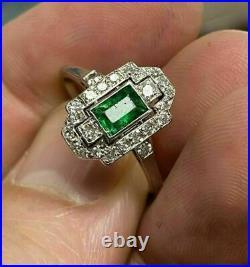 Antique Vintage Art Deco 2Ct Emerald Diamond Engagement Ring 14K White Gold Over