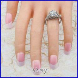 Antique Vintage Art Deco Engagement Ring 2.30Ct Round Cut Diamond 14k White Gold