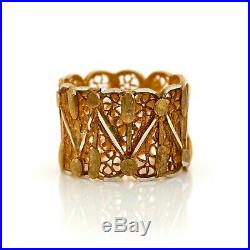 Antique Vintage Art Deco Sterling 800 Silver Gold Portuguese Filigree Ring S 5.5