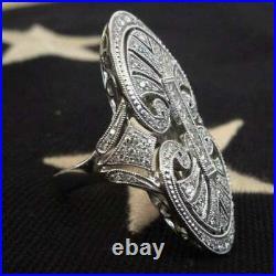 Antique Vintage Art Deco Wedding Cocktail Ring 4.3Ct Diamond 14K White Gold Over
