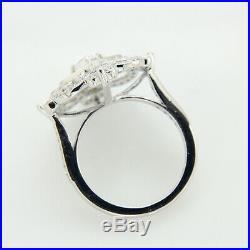 Antique Vintage Art Deco Wedding Diamond Engagement Ring Solid 14k White Gold