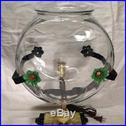 Antique Vintage Fish Bowl Aquarium Tank Holder Art Deco Houze Slag Glass