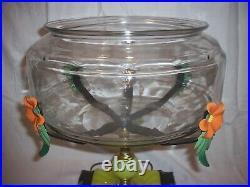 Antique Vintage Fish Bowl Tank Aquarium Holder Art Deco Light Houze Glass