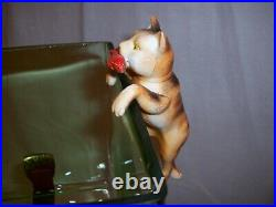 Antique Vintage Green Glass Fish Bowl Tank Aquarium Cat Houze Glass Art Deco