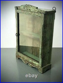 Antique Vintage Indian Cabinet. Art Deco. Display / Bathroom. Jade &turquoise
