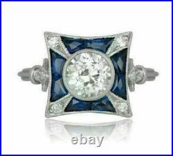 Antique Vintage Retro Art Deco Engagement Ring 14K White Gold Over 2 Ct Diamond