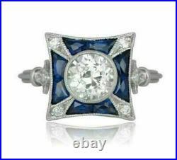 Antique Vintage Retro Art Deco Engagement Ring 2 Ct Diamond 14K White Gold Over