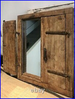 Antique Vintage Salvage Indian Arched Mughal Art Deco Twin Door Mirror Original