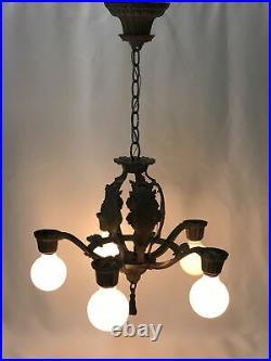 Antique Vtg 5-Arm Chandelier Gothic Arts & Crafts Deco Hanging Light 40s Silver