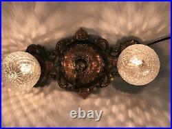 Antique Vtg Art Deco Flush Mount Ceiling Wall Vanity Fixture 2 Bulb Copper Green