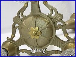 Antique Vtg Chandelier Arts & Crafts Deco Ceiling Hanging Light 1920s Gold 3 Arm