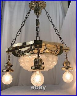 Antique Vtg Chandelier Victorian Art Deco Hanging 5 Light Ornate Brass & Glass