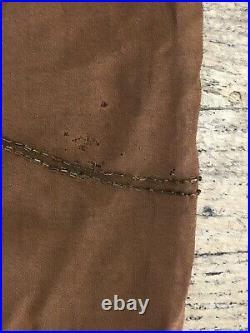 Antique art deco 1920s brown silk glass beaded flapper dress with rhinestones