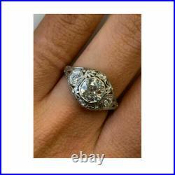 Art Deco 2.35 Ct Round Diamond Vintage Engagement Wedding Ring in 14K White Gold