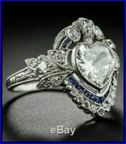 Art Deco 4 Ct Heart Cut Diamond Vintage Engagement Ring 14K White Gold Finish