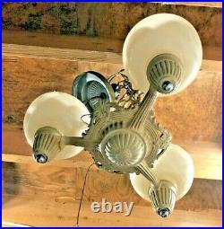 Art Deco Antique Vintage Ceiling Light Fixture CHANDELIER 3 bulb with shades