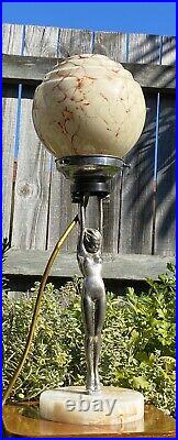 Art Deco Chrome & Alabaster Nude Lady Diana Lamp & Marbled Glass Light Shade