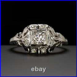 Art Deco Diamond Engagement Ring Old European Cut Vintage Antique White Gold