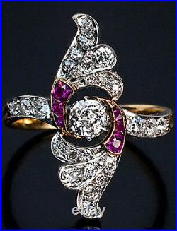 Art Deco Diamond and Ruby Platinum Gold Ring, Vintage Russian c. 1930