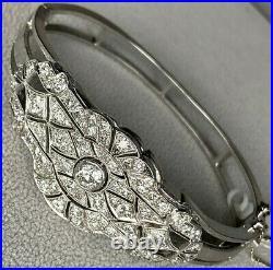 Art Deco Platinum 14K White Gold Old European Diamond Filigree Bracelet 6.75