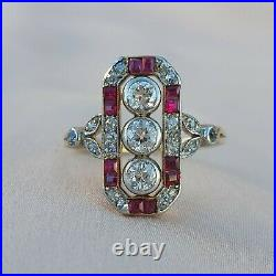 Art Deco Three Stone Diamond & Ruby Gold Ring Vintage Engagement Antique 1920