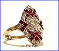 Art Deco Vintage 2.55 ct White Diamond Ruby Antique Engagement Wedding Ring Set