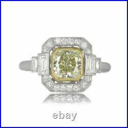 Art Deco Vintage Engagement Wedding Ring 2 Ct Yellow Diamond 14K White Gold Over