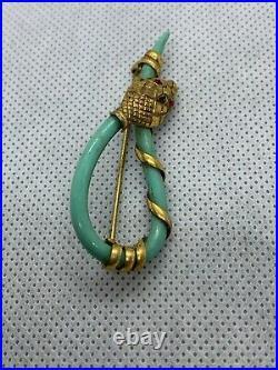Art Deco1930s Charles Horner Turquoise Snake Brooch Ruby Red Eyes