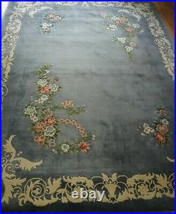 Chinese 120 Lines Hand-Knotted Wool Art Deco Style Oriental Rug Cleaned 9'x12