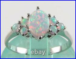 Crisp 9k 9ct White Gold Aaa All Opal Cluster Art Deco Ins Ring Free Resize
