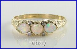 DAINTY 9K 9CT GOLD AAA AUS OPAL DIAMOND VINTAGE ART DECO INS RING Size Q